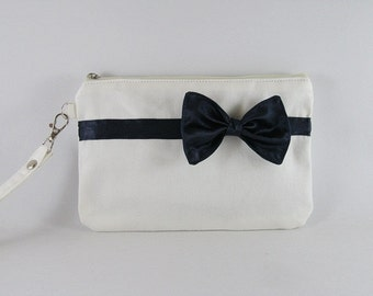SUPER SALE - Ivory with Little Navy Blue Bow Clutch - Bridal Clutches, Bridesmaid Wristlet, Wedding Gift, Cosmetic Bag. Zipper Pouch