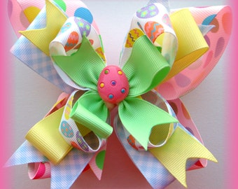 Pink Pastel Easter Egg Boutique Dots Bow HairBow Clip Clippie