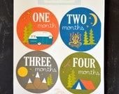 Baby boy month milestone stickers Camping monthly stickers Baby boy adventure themed stickers Baby bodysuit stickers Outdoors stickers