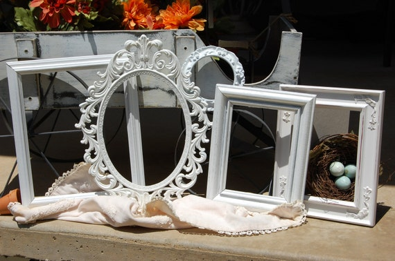 PICTURE FRAMES - Shabby Chic Frames - Empty Frame Set - Sale