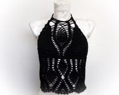 Black Crochet top-Summer-Crochet Hippie Fringe Halter Top-little longer-one strawberry-tank top-Tender top