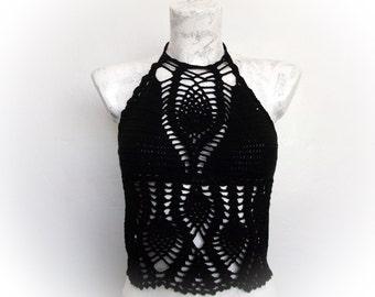 Black Crochet top-Summer-Crochet Hippie Fringe Halter Top-little longer-one strawberry-tank top-Tender top