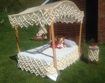 Custom Order Handmade Bed Canopy Coverlet and Bed Skirt Complete Set & Handmade Fishnet Bed Canopy Custom Orders