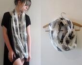 Hand Printed Muslin Maxi Infinity Scarf  - 'Tarot' print - Cream/Black