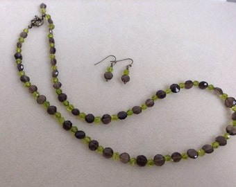 Smokey quartz and green quartz necklace and earrings set