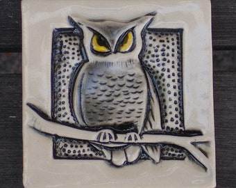 Arts and Crafts, Mission Style Hand made Owl Tile