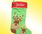 Christmas Stocking - Personalized and Embroidered - Reindeer Applique - Supplies are limited . . . Order Quickly!