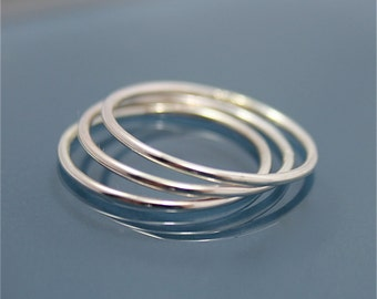 Set of 3 Sterling Silver Thin Stacking Spacer Band Ring Smooth Shiny Finish EcoFriendly Recycled Silver