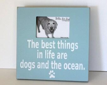 Coastal dog decor, distressed beach frame, dog lover frame, dog frame, beach decor