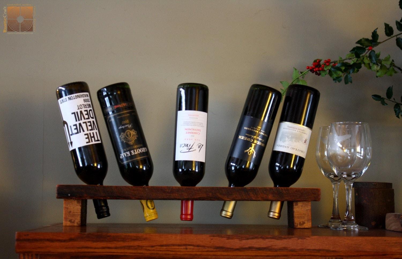 Personalized Wine Rack Rustic Wood Wine Display 5 Bottle