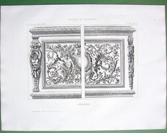 BAROQUE PANELS Floral Ornaments Era of King Louis XIV - 1857 Antique Print