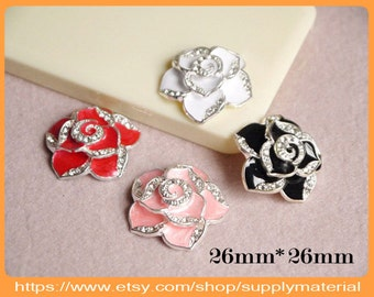 2PCS 26X26mm Bling Crystal Camellia flatback Alloy jewelry For Phone case deco (4 colors Optional )