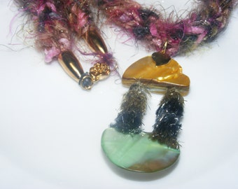Soft Jewelry knitted necklace pink green and gold with fiber bead focal components