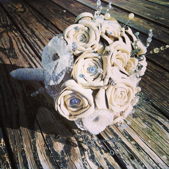 Bouquet, Leather and Lace Bridal Bouquet