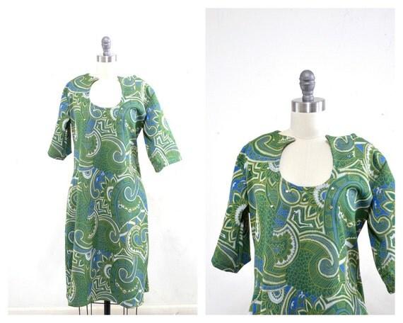 60s Mod Dress - Green Dress - Green Print Dress - Asymmetric Dress - L