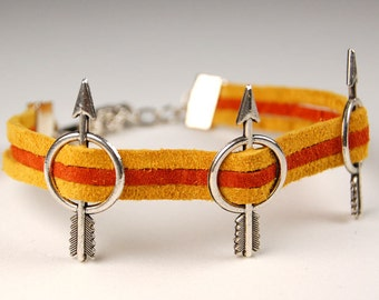 3 Arrow Bracelet in Soft Suede Leather & Silver - Gold Yellow and Rust Orange