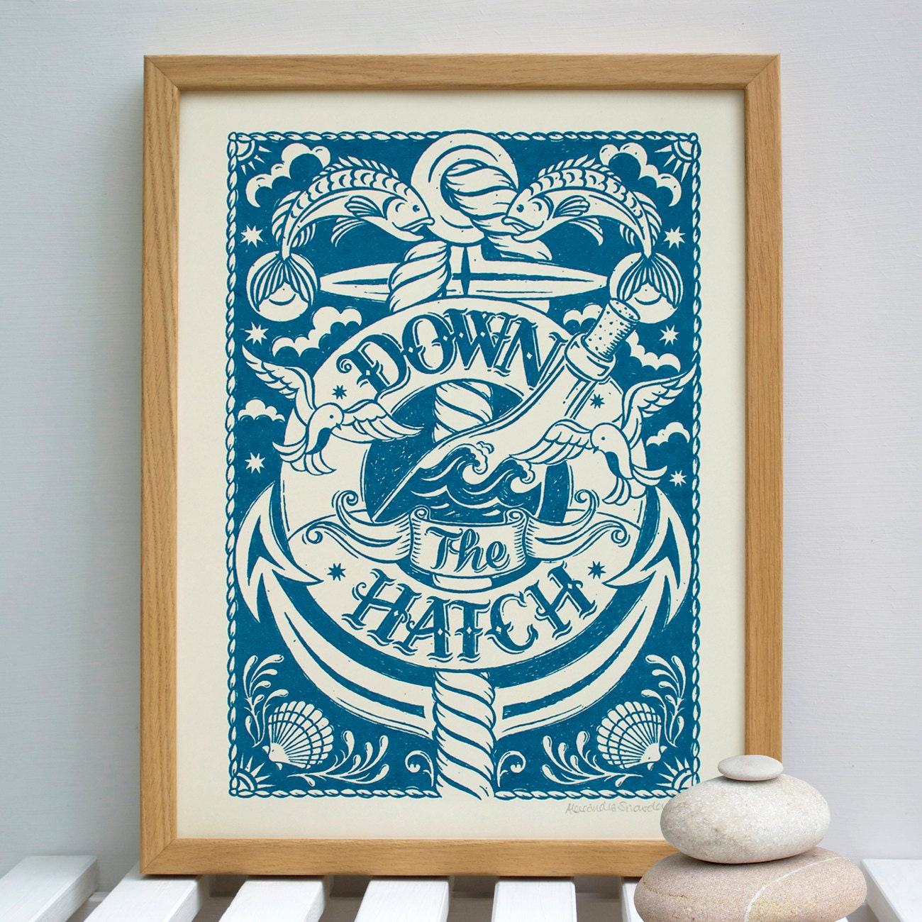 Down the Hatch Nautical Print Nautical Print Bar Print