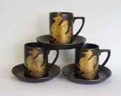 Set of 3 Phoenix demitasse cup & saucers Portmerion Pottery England, John Cuffley design 1968