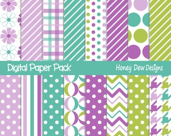 Instant Download - Digital Paper Pack 262 - Purple, Blue and Green Paper