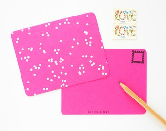 Pink Confetti Postcards - Set of 4