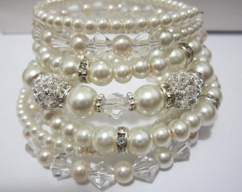 Pearl Wedding Jewelry, Wedding Bracelet, Multi Layered Bracelet, Pearl Cuff Bracelet, Ivory Pearl Bracelet, Rhinestone Bracelet