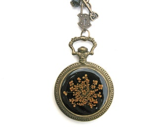 Queen Anne Lace Resin Pendant Necklace  - Real Flower in Pocket Watch Bezel, Pressed Flower Jewelry - Resin Necklace, Resin Jewelry