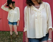 Early 1920s British Cream Silk Double Breasted Gatsby Blouse Shirt