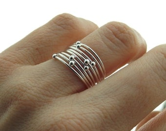 Flash Sale Choose Your  Orbit Ring, Spinner Rings, Stacking Rings, Modern Sterling Spinner Ring, Thin Ring, Beaded Ring, Whisper Rings, Deli