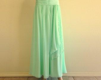 Mint Green Maxi Skirt. Long Evening Skirt. Mint Green Bridesmaid Skirt. Chiffon Floor Length Skirt.