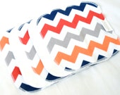 Premium Cloth Wipes Cotton Velour or Baby terry and flannel - Set of 5 or 6 - Baby Washcloths - Cloth Diapering - Reusable - Boy Chevron