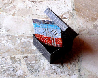 Abstract mosaic / geometric mosaic / mosaic art / blue, red, grey / TRIBAL TREE / tribal mosaic, home decor art