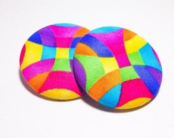 Extra Oversized Fluorescent Swirls Print Button Earrings