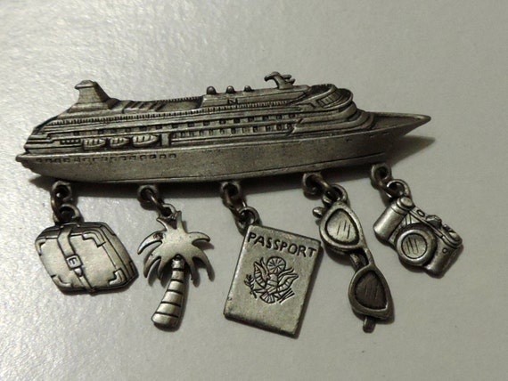 1980s Vintage Jonette JJ Pewter Cruise Ship Brooch with Five Figural Charms a Camera Palm Tree Sun Glasses Passport and Luggage