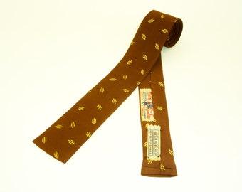 1950s Square Cavalier Necktie Mad Men Era Mid Century Mens Vintage Brown & Metallic Gold Square Bottom Skinny Tie by CAVALIER of Louisville