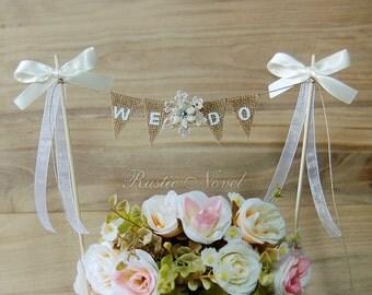 Wedding Cake Topper, Burlap Cake Bunting, Rustic Wedding Cake Banner