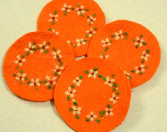 Gift Idea: A set of 4 Needle Felted Coasters (Floral)