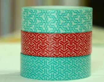 3 Rolls of Japanese Washi Masking Tape Roll- Teal and Red Simple Patterns