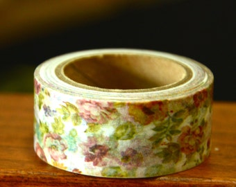 1 Roll of Japanese Washi Tape Roll (20mm x 10m)- Floral