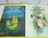 Nancy Drew Mystery Stories. Vintage Hardback Set of Two. Circa 1987 and 1992.  Girl's Room Decor. Baby Shower Gift. Photo Prop. Library.