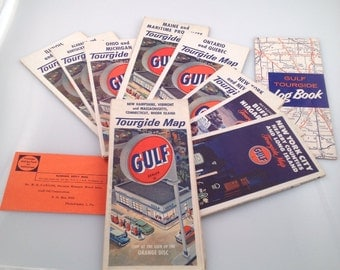 9 vintage gulf gas station tour guide maps with extras