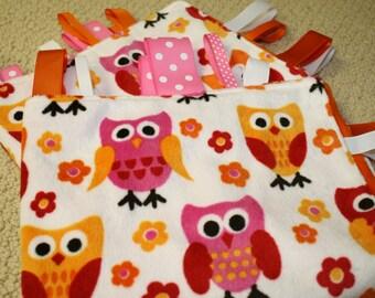 Pink and Orange Owl Sensory Ribbon Tag Blanket