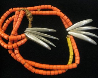 Unique Vintage Nagaland Necklace with Orange Beads and Sculptural Claws