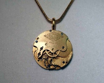 Steampunk Necklace, Gold Necklace, Waltham Watch Face Necklace,Gold Snake Chain Necklace, GORGEOUS IN GOLD, Circa 1890