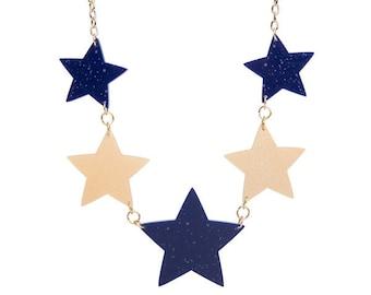 Multi Galaxy Stars necklace - laser cut acrylic