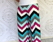 READY TO SHIP in women's size 8 Mint,Gray, Fuchsia, Black, and White  Chevron Knit Pants by GreenStyle
