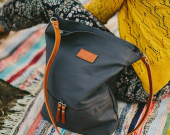Grey, cotton tote handbag DEER / natural leather strap