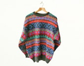 90s Icelandic Real Wool Multicoloured Fair Isle Jumper – Size L – FREE UK POSTAGE