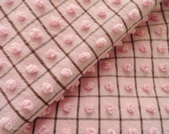 Rare Pink Morgan Jones Vintage Chenille Popcorn  and Black Intersecting Lines Bedspread Fabric Piece...16.5  x 2 4""