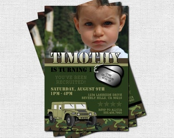CAMOUFLAGE ARMY INVITATIONS Birthday Party (print your own) Military Camo Personalized Printable