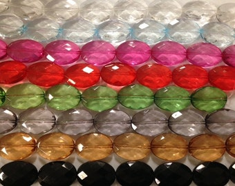 30x40mm faceted acrylic oval beads ,9beads